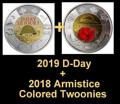 2019 CANADA 🍁 D-Day + 2018 Armistice $2 Dollar Coins - Colored  BU from roll;🍁