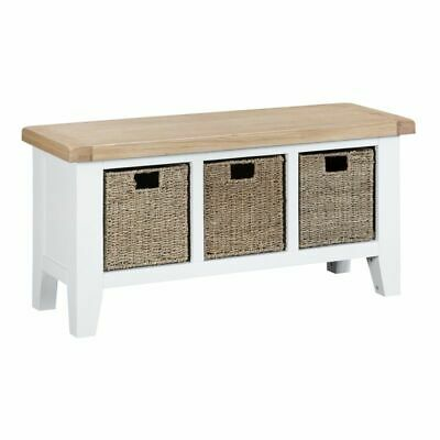 Lighthouse Oak Top Large Hall Bench - White Wood Home Furniture