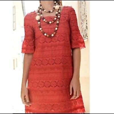 Anthropologie Moulinette Soeurs  SZ 6   Dazzling Lights Lace Coral Shift Dress