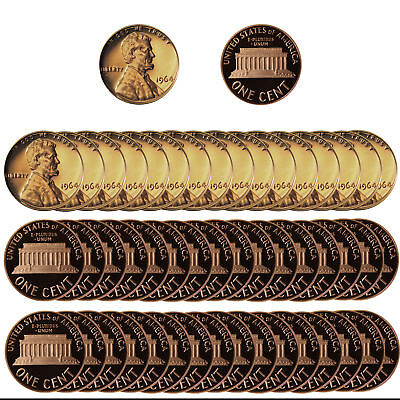 1964 Gem Proof Lincoln Cent Roll - 50 US Coins