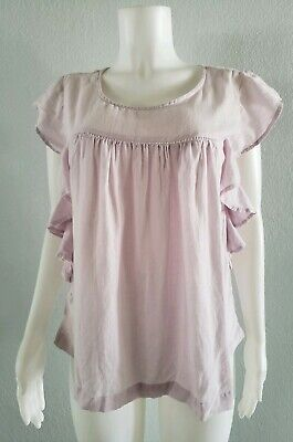 Old Navy Pale Pink Ruffled Top Sz Med 100% Cotton Nwt