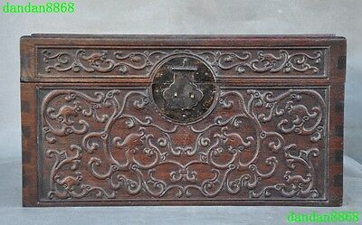 Chinese Huanghuali wood inaly bronze Carving Dragon Statue storage box cabinet