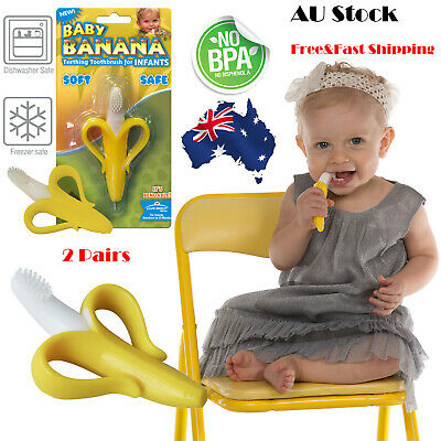 AU 2Pcs Baby Banana Toothbrush SAFE FOR BABY Chewable Bendable Training Infant