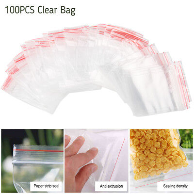 100 Grip Seal Clear Bags Small Plastic Sealable Self Resealable Poly Zip Lock CA