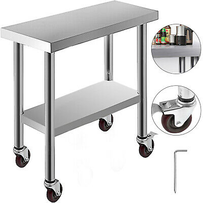 Kitchen Work Table Bench Wheels 762*305 mm Room Laundry Utility Station