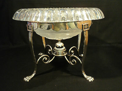 STUNNING HUGE 19th C. CUT GLASS CENTERPIECE BOWL ON SILVERPLATE STAND