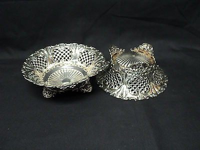 "STUNNING PAIR of 19th C. STERLING PIERCED FOOTED 7"" BOWLS by WHITING, NEW YORK"