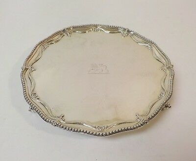 """Richard Rugg GEORGE III Sterling Silver 8"""" Tray / Salver, c. 1778"""