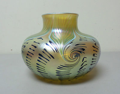 "Beautiful 6"" Orient & Flume Gold Iridescent Art Glass Vase, Signed, Dated 1985"