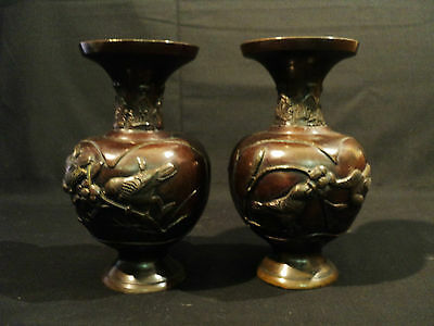 GREAT PAIR of Small JAPANESE BRONZE VASES, MEIJI PERIOD, c.1868-1912