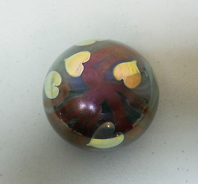 Vintage Orient & Flume Metallic Art Glass Paperweight, Signed & Dated 1974