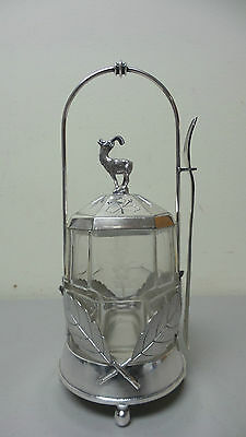 "Beautiful Victorian Glass Pickle Castor ""Rogers, Smith & Co."" Silver Plate Stand"