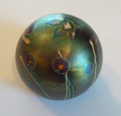Orient & Flume Blue Iridescent Art Glass Aquarium Paperweight, Signed, 1976