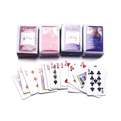 2 Sets Mini Poker 1:12 Playing Cards Game Model Cute Doll Dollhouse Home Decor