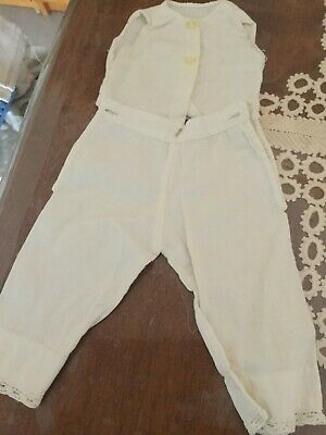 Antique cotton pantaloons & chemise for leather or cloth body dolls ca 1900s