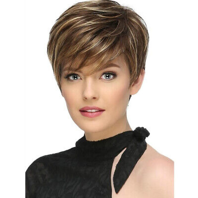 Women Ombre Blonde Short Hair Wigs Synthetic Natural Full Wig Charm Ladies