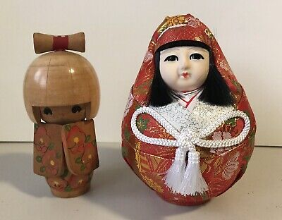 Vintage Japanese Kokeshi Wooden Hand Painted Doll & Roly Poly Wedding Bride Doll