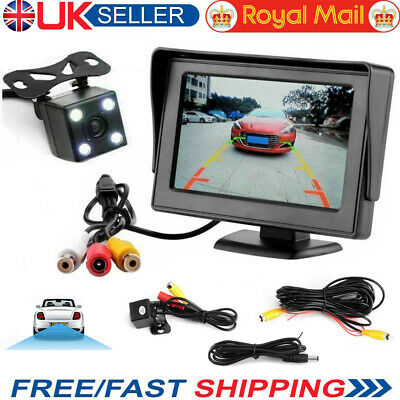 "Rear View Reversing Camera Kit Parking 4.3"" HD Monitor Night Vision Car Truck"
