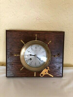 Schatz Ships Bell 8 Day 7 Jewels Maritime Spoke Sailing Clock With KEY Chime