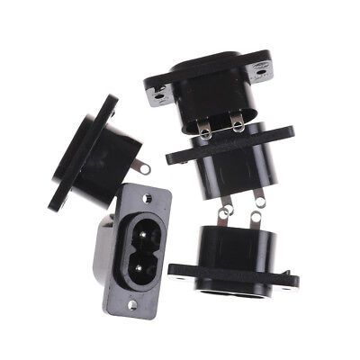 5 Pcs IEC320 C8 Black 2 Terminal Power Plug Inlet Socket AC 250V 2.5A~GQ