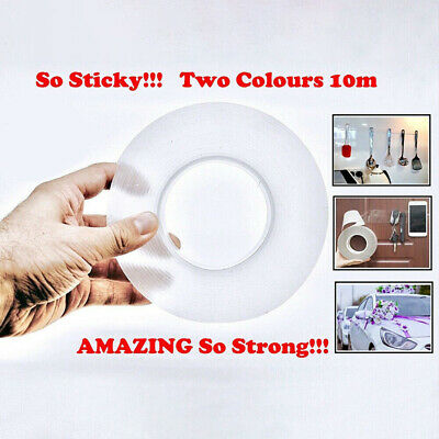 1/3/5M Reusable Double-sided Washable Adhesive Nano Invisible Gel Grip Tape New