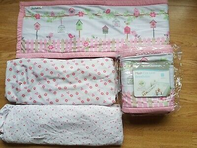 Breathable Baby Mesh Liner Cot Bed Bumper Air Safety Suffocated 2 x fitted sheet
