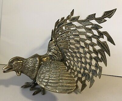 Vintage 22cm Solid Brass Cock Fighting Rooster Large Beautiful & Heavy