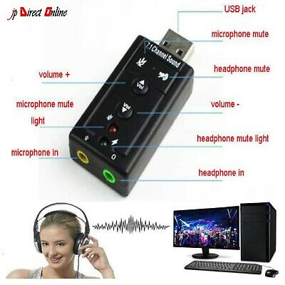 PC Laptop USB To Mic Speaker Headphone 7.1 Channel 3D Audio Sound Card Adapter