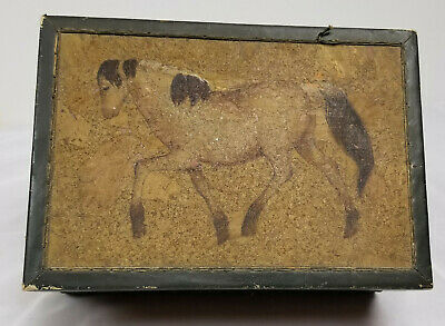 Antique Folk Art Americana Decorated Horse Painted Leather and Cork Box