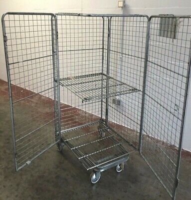 USED NESTABLE PALLETOWER Roll Cage Container Warehouse Shelf Full Security  Lid