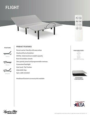 """Leggett &* Platt Electric Adjustable With 10"""" Air Beds W/ 50 Number Remotes"""