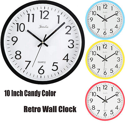 Analogue Retro Round Wall Clock Battery Operated Silent Modern Novelty Clocks UK