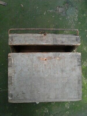 Old Antique Primitive Wooden Tool Box Case With Iron Handle Hand Made