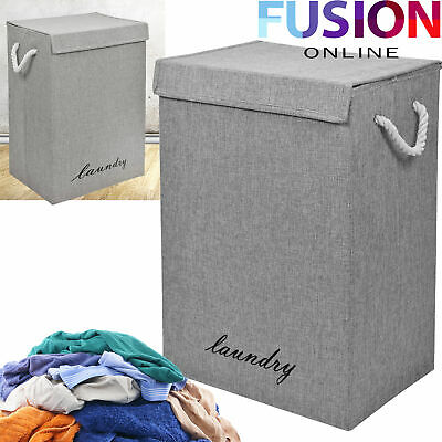 Large Laundry Basket Washing Clothes Storage Folding Basket Bin Hamper Lid Grey