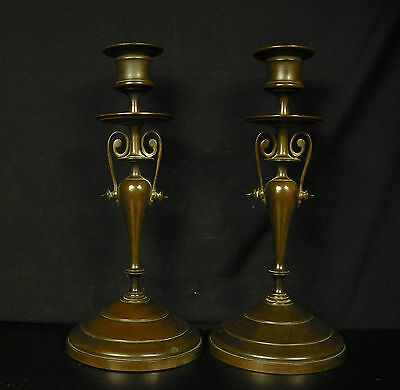 Pair of Candle Holders XIX ° Th Bronze Patinated Shield Candlesticks Paar