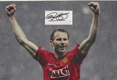 RYAN GIGGS Signed 12x8 Photo Display MANCHESTER UTD & WALES Legend COA