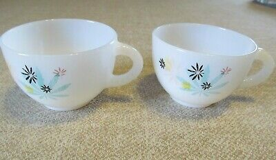 2 Vintage White Milk Glass Coffee/ Tea Cups With Flowers~Floral Design