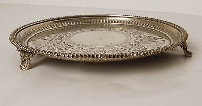 Silver Plated Tri Footed Decorative Metal Tray