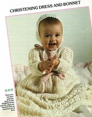 "BKL308 BABIES 3ply CHRISTENING GOWN & BONNET KNITTING PATTERN 16-18""/41-46cm"