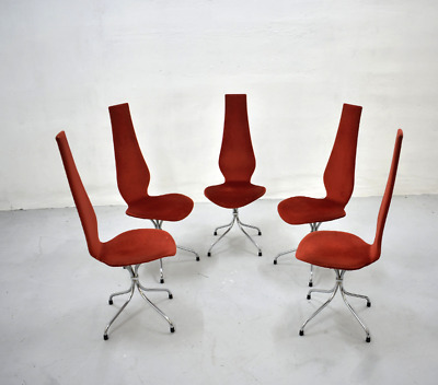 Rare Dining Chairs 'Lyre' by Theo Häberli Mid Century 60s Upholstered Red Velvet