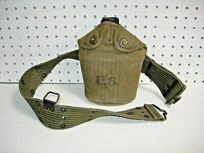 Named Ww Ii U.s. Military 1945 Airtress Midland Canvas Canteen Cover And Belt
