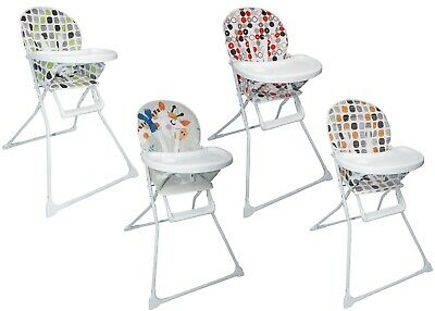 Foldable Safe Baby High Chair With Padded Seat Feeding Tray ! Various Designs !
