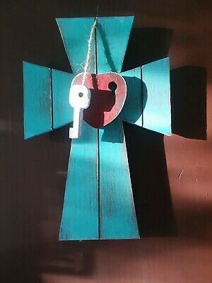 Key to my heart Hand Made Wooden Decorative Wall Cross turquoise