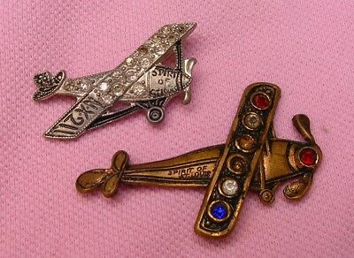 Vintage Antique Lucky Lindy Spirit of St Louis Charles Lindbergh Airplane Brooch