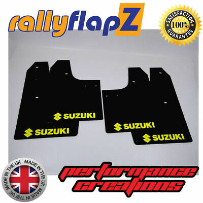 rallyflapZ SUZUKI SWIFT SPORT 4th Gen ZC33S Mudflaps Black 4mm PVC Logo Yellow