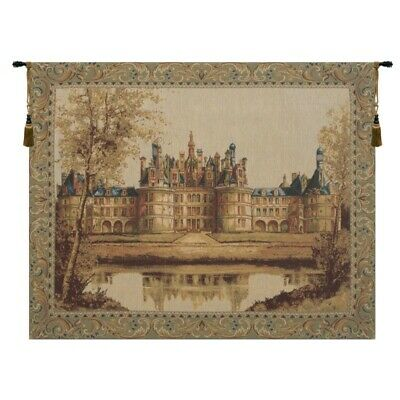 Chateau de Chambord French Castle Scene European Woven Tapestry Wall Hanging