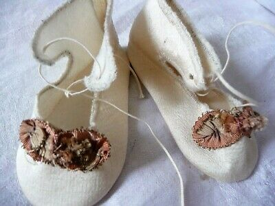 Pair of Darling Antique/Vintage  ALLSilk French Doll Shoes