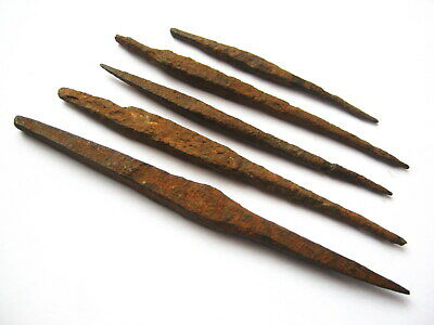 Ancient Celtic La Tène Culture Iron Arrowheads ca.4th Century BC - Lot of 5