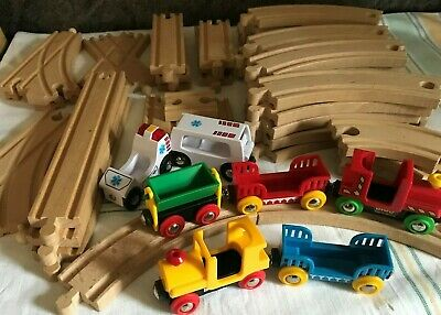 Wooden Train Track 40 Assorted Pieces Brio Trains Trucks Ambulance Magnetic