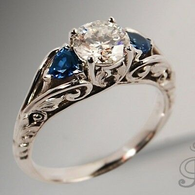 Antique Byzantine Silver White &Blue Sapphire Ring Proposal Engagement Jewelry